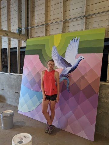 This is one of 12 panels for a mural Ali Hval, MFA 2019, painted for Webster City