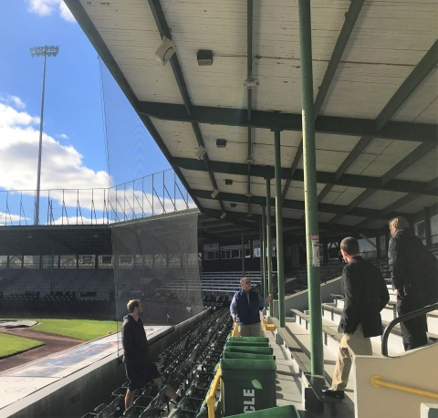 Students visit Clinton LumberKings stadium