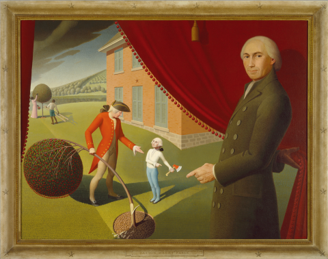 Grant Wood, Parson Weems' Fable, 1939, Oil on canvas, Amon Carter Museum of American Art, Fort Worth, Texas