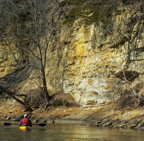 Webster City limestone cliffs over Boone River